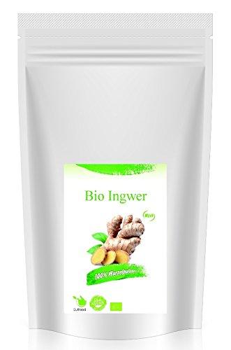 GutFood Hochwertiges BIO Ingwer Pulver 1 kg | Gemahlener Ingwer aus kontrolliertem biologischen Anbau (1000g) | Veganes Bio Ingwerpulver für Ingwertee, Ingwerwasser, zum Kochen