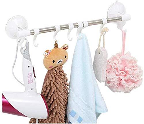 Yangangjin Handdoekhouder met haakjes, handdoekhaak, wandbevestiging, roestvrij staal, voor badkamer, douche