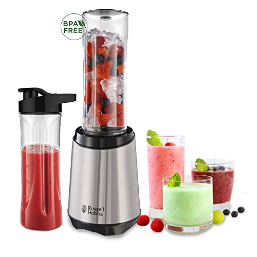Russell Hobbs Mix & Go Steel Blender/ Smoothie Maker, IJs, Smoothies, Gezond, Inclusief 2 Bekers, BPA-vrij,  300 Watt, RVS Basis, 23470-56