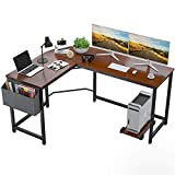 "Foxemart L Shaped Desk Corner Desk 58"" Computer Gaming Desk PC Table Writing Workstation for Home Office, Large L Study Desk 2 Person Multi-Usage Tables Modern Simple Desk with Storage Bag & CPU Stand"