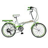 Bicicleta plegable unisex de 20 pulgadas pequeña bicicleta bicicleta portátil 7 velocidades bicicleta (color: VERDE tamaño: 150 x 30 x 65 cm) HRTT