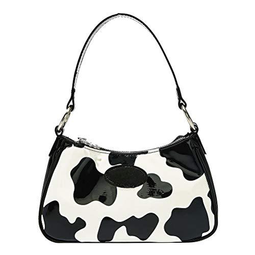 TiKiNi Damen Vintage PU Leder Handtaschen, Elegante Retro Unterarmtasche Schultertasche Kuh Muster Handtasche