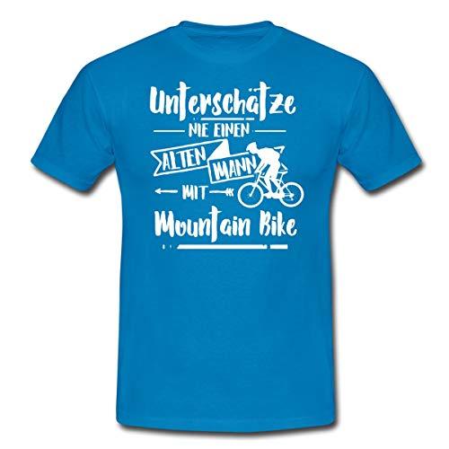 Unterschätze Nie Alten Mann Mit Mountainbike Spruch Männer T-Shirt, L, Royalblau