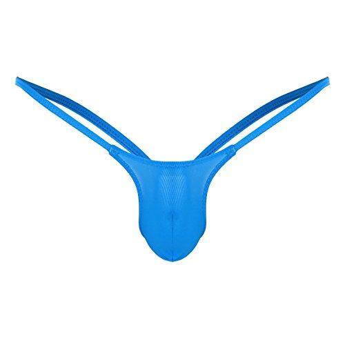 iiniim Sexy Tanga G-String Atractivo Hombre Chico Silps Ropa Interior Lencería Erótica Jockstrap Bikini Thong Briefs Underwear para Masculinos Adultos Azul L