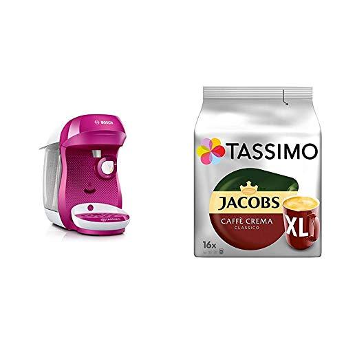 Bosch TAS1001 Tassimo Happy Kapselmaschine, über 70 Getränke, vollautomatisch, geeignet für alle Tassen, kompakte Größe + Tassimo Kapseln Jacobs Caffè Crema + Latte Macchiato + Milka + Probierbox