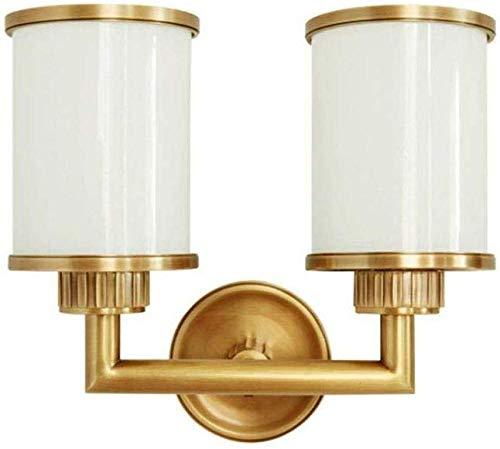 Wandlampen, wandlampen, wandlampen, volledig van koper, E14-bank, dubbele kop, slaapkamer, tv-achtergrond, wanddecoratie (kleur: