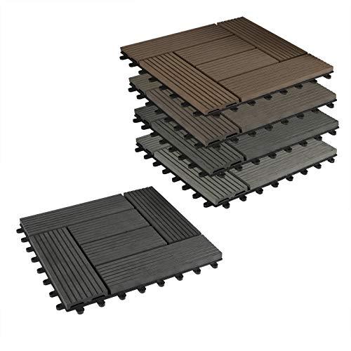 EUGAD 22er Set WPC Terrassenfliesen Terrassendielen Holzoptik Coffee, Rutschfest und Wetterfest Fliese Bodenfliese mit klicksystem, 30x30 cm Klickfliese Bodenbelag mit Drainage (2 m²)