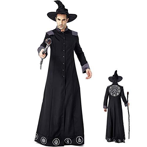 ACCLD Fiesta De Carnaval De Halloween Mago Mago Jugando Mago Malvado Disfraz De Erudito Loco Actuacin En El Escenario,M