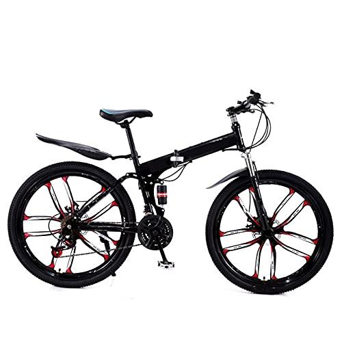 Bicicleta de montaña, bicicleta plegable de 21 de velocidad, bicicleta de carretera, bicicleta de marco de choque completo unisex para hombres adultos y mujeres unisex ciclismo al aire libre,Negro,26'