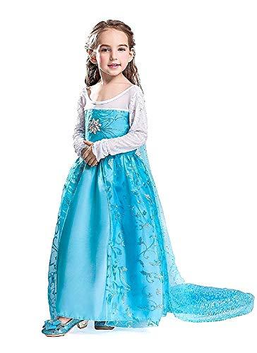 Disfraz de Elsa frozen - niña - capa de flores - halloween - carnaval - talla 130-8/9 años - idea de regalo original frozen