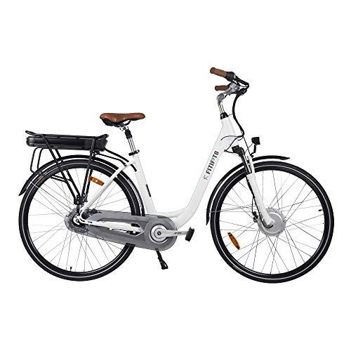 Fitifito CB28 Zoll Elektrofahrrad Citybike E-Bike Pedelec, 48V 250W Bafang Motor, 13Ah 624Wh Samsung Akku USB, 8 Gang Shimano Nabenschaltung Weiss