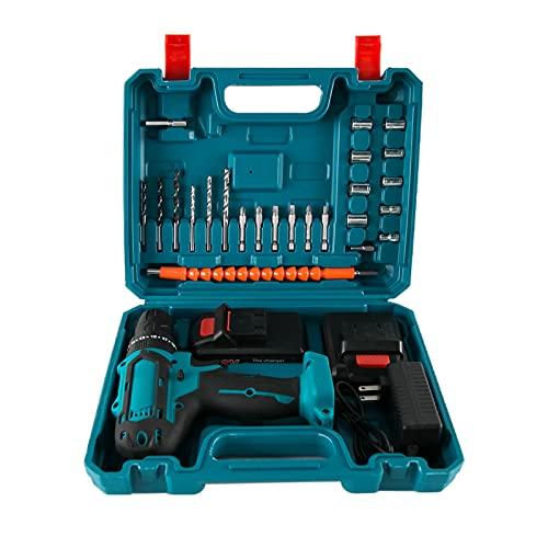 Destornillador eléctrico de 32 V - Destornillador eléctrico de martillo recargable con 2 baterías de iones de litio y luz LED para bricolaje en el hogar(EU)
