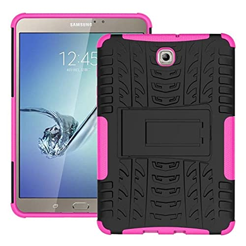 Funda para Samsung Galaxy Tab S2 8.0 T710 T715 T713 T719 SM-T715 Heavy Duty Impact Hybrid Armor Kickstand Cover Casos - Rosa
