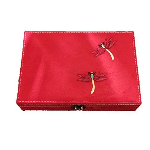 EHDFS Caja de joyería bordada antigua para collar, pendientes, anillos, pulseras, etc. Caja de almacenamiento de una sola capa