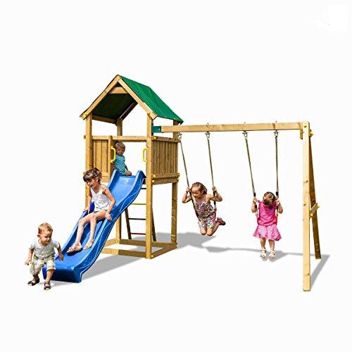 Fungoo Spielturm Funny 2 Premium Kletterturm Garten inkl. Bodenanker Schaukel Blaue Rutsche Holz
