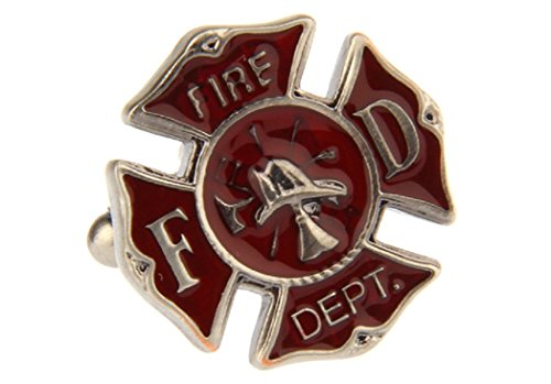 MRCUFF Presentation Gift Box Fire Department Emblem Cross FD Fireman Pair Cufflinks & Polishing Cloth