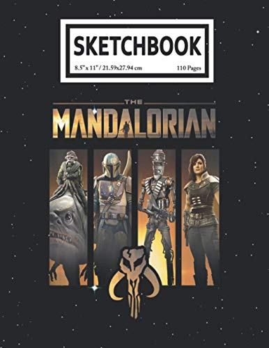 Sketchbook: The Mandalorian Group Line Up Baby Yoda 110 Pages College Wide Ruled Composition Notebook Journal - Lined Paper Notebooks Size 7.5x9.25 for Work School Office