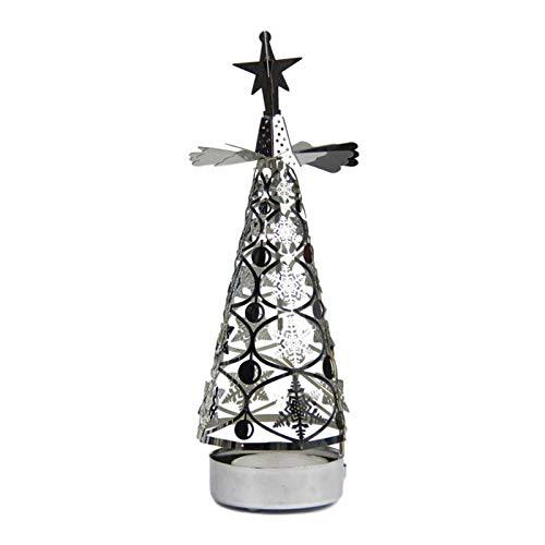 Further Rotierender Teelichthalter, drehender Metall-Kerzenhalter, Weihnachtsbaum-Form, romantische Rotation, Heimdekoration, Fancy Ornament