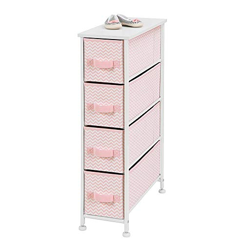Cheapest Prices! mDesign Narrow Vertical Dresser Storage Tower Furniture – Metal Frame, Wood Top, Easy Pull Fabric Bins – for Kid's Bedroom, Hallway, Entryway, Closet, Dorm – Chevron Print, 4 Drawer – Pink/White