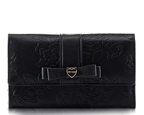 Black Flapover Envelope Style Magnetic Clasp Closure Flower embossed shiny patent - faux leather Exterior with front Bow and center Gold-tone signature Heart Logo Gold metallic interior with Features: 15 CC slots, Photo Clear id slot, 2 bill slots Ba...