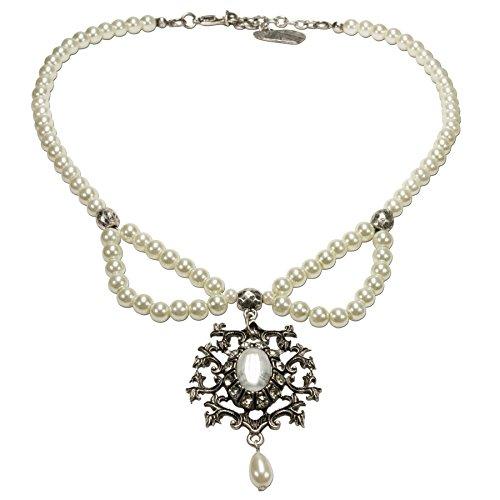 Alpenflüstern Perlen-Trachtenkette Auguste mit Ornament-Anhänger - Damen-Trachtenschmuck, Elegante Dirndlkette Creme-weiß DHK163