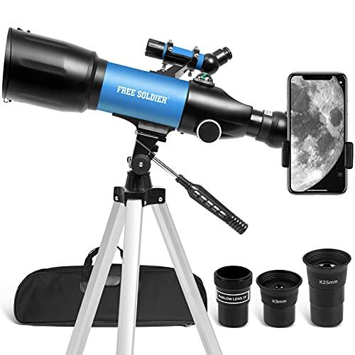 FREE SOLDIER Telescopio para niños y adultos mejorado, telescopio de 70 mm, apertura de 400 mm, telescopio astronómico de viaje portátil con adaptador para smartphone