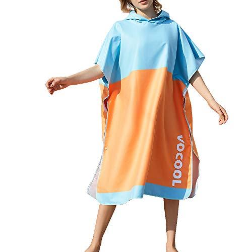 Vertvie Surf Poncho Strandtuch Badeponcho Bademantel mit Kapuze Unisex Duschtuch Handtuch Strandmode Mobile Umkleide Mikrofaser Schnelltrockend (One Size, 1#Blau+Orange)
