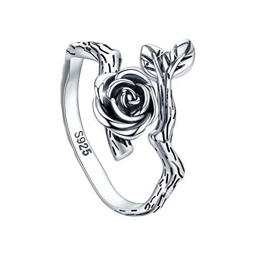 Anillo ajustable para mujer, CHENGHONG de plata de ley 925 oxidada con