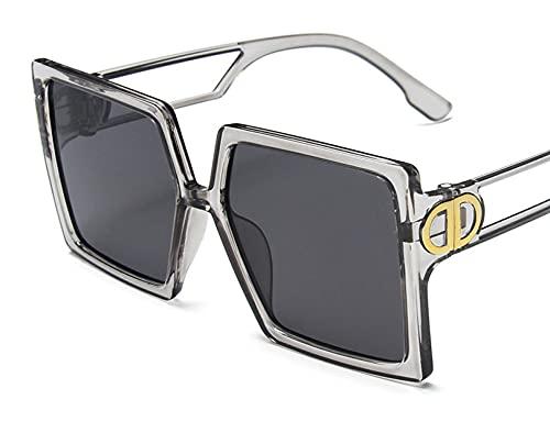 ODNJEMSD Large Frame Sunglasses Women Square Hollow Mirror Leg Personality Sunglasses