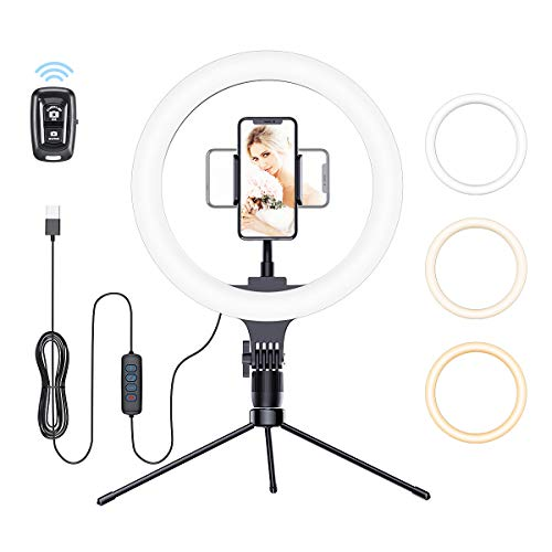 """Meifigno 10"""" Ring Light with Tripod Stand, 10 Inch LED Desk Selfie Ring Light with Phone Holder, [Remote Control][3×10 Light Modes] for YouTube Video/Live Stream/Makeup for iPhone, Samsung, Pixel Etc"""