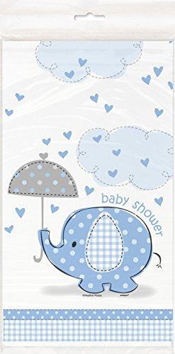 Kunststof blauw olifant baby douche tafelkleed, 7 ft x 4,5 ft