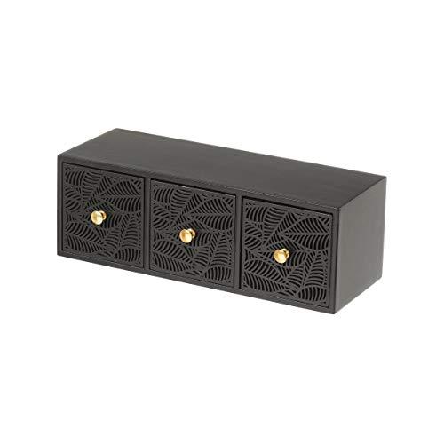 Joyero de Madera Tallada con 3 cajones Negra exótica, de 27x11x13 cm - LOLAhome