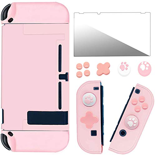 【12 IN 1】Protective Case for Nintendo Switch and Joy-Con Controller with Tempered Glass Screen and Two Cat Claw Thumb Stick Caps, Anti-Fall Scratch-Resistant Grip Cover Pink