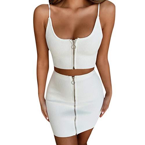TUDUZ Sling + Rock Set Damen Crop Tops Mini Skirt mit Reißverschluss Party Strand Streetwear Bekleidungsets(Small,Weiß)