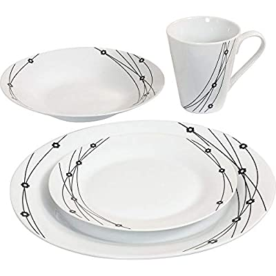 16PC Dinner Set Bowl Plate Mug Soup Side Porcelain Cup Gift Kitchen Service New from NT