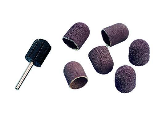Schleifkappenträger und 20 Schleifkappen für Hornhautentfernung, Zubehör für Maniküre und Pediküre