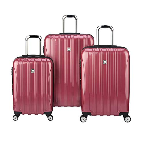 DELSEY Paris Helium Aero Hardside Expandable Luggage with Spinner Wheels, Peony Pink, 3-Piece Set (21/25/29)