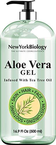 New York Biology Aloe Vera Gel for Skin Face and Hair - Infused with Tea Tree Oil – From Fresh Aloe Vera Plant – Gel Helps Remove, Clean Germs, Bacteria from Skin, Hands, Face - HUGE 16 oz