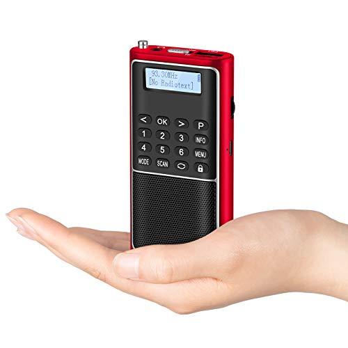 PRUNUS J-301 FM DAB DAB+ Radio Portatile con Funzione di Preimpostazione Manuale,USB TF lettore musicale, Radio DAB Portatile con batteria ricaricabile e tasti di blocco per jogging,viaggi.(Rosso)