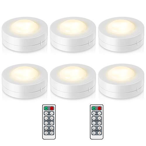Kohree 6 x Luci Armadio LED Lampada Notturna Adesiva Dimmerabile a Batteria con Telecomando e Sensore di Touch 4000K Senza Fili per Vetrine, Scale, Armadio, Cucina Bianco Naturale
