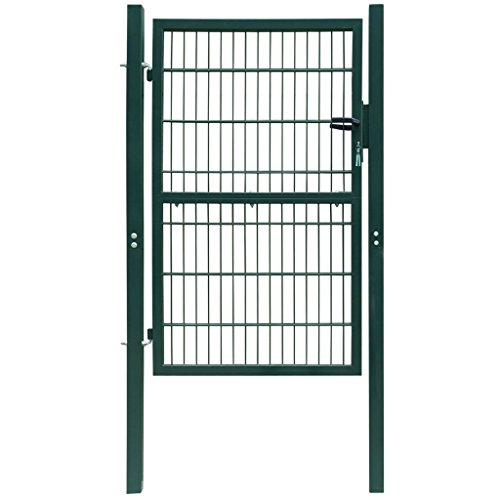 Tidyard Puerta para Jardín 2D (Sencilla) Puerta de Malla de Jardín Puerta para Valla Verja para Jardín Patio Terraza Acero Recubierto en Polvo Verde 106x170cm