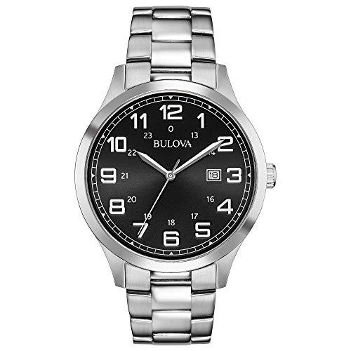Bulova Reloj de hombre de acero inoxidable con esfera negra 96B274