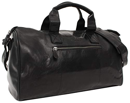 Gusti Travel Bag Leather -'Hall' Sports Bag Weekender Hand Luggage Men Ladies Black