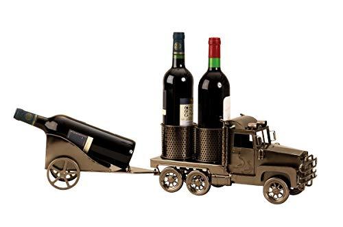 Flaschenhalter Truck mit Anhänger aus Metall für 3 Weinflaschen