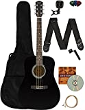 Fender Squier Dreadnought Acoustic Guitar - Black Learn-to-Play Bundle with Gig Bag, Tuner, Strap, Strings, Picks, String Winder, Fender Play, and Austin Bazaar Instructional DVD