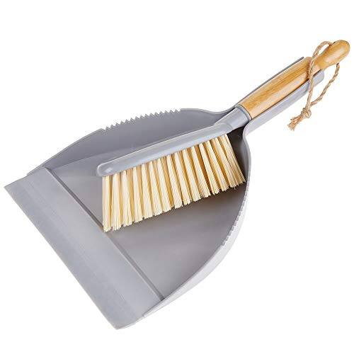mDesign 2er-Set Kehrgarnitur aus Bambus und Kunststoff – Kehrschaufel und Handbesen mit langem Stiel – für eine schnelle und effektive Reinigung im Haus – grau/naturfarben