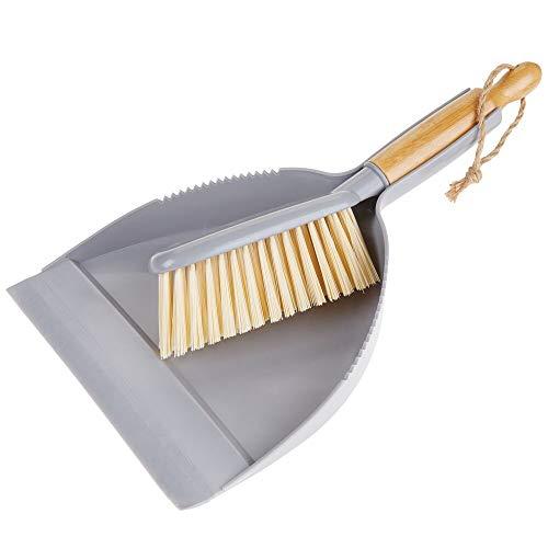 mDesign Juego de 2 utensilios de limpieza para barrer de bambú y plástico – Recogedor y escoba de mano con mango corto – Para limpiar...