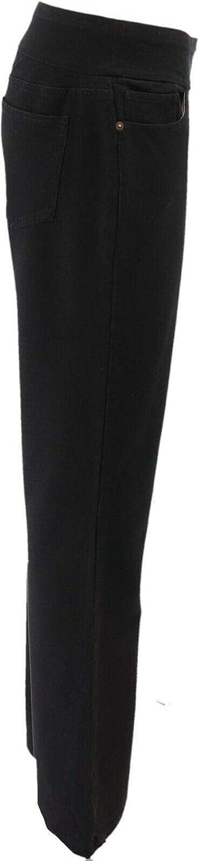 Denim& Co Tall Smooth Waist Boot-Cut Jeans A309735 Black