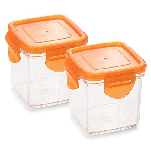 Genius Nicer Dicer Quick Auffangbehälter inkl. Frischhaltedeckel in orange 200ml (4 Teile) Auffangbox Auffangdose Dose - zum Hineinschneiden, Aufbewahren und Transportieren