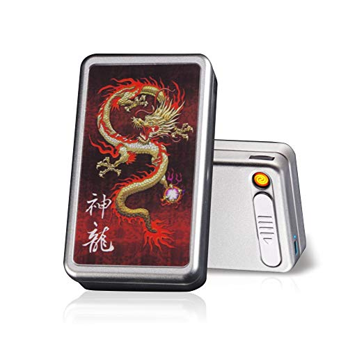Cigarette Case with Lighter Built in USB Lighter Cigarette Box 2 in 1 Electronic Rechargeable Flameless Windproof Lighters Hold 20pcs Regular Cigarettes (Dragon)